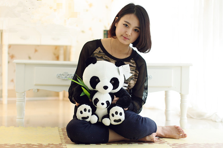large 40cm panda plush toy mother & child panda with bamboo doll birthday gift, Christmas gift  w6696 110cm cute panda plush toy panda doll big size pillow birthday gift high quality