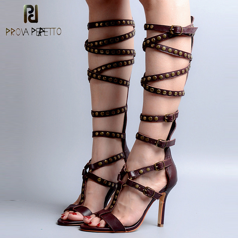 Prova Perfetto Rivet Studded Buckle Straps Thin High Heel Sexy Women Gladiator Sandals Hollow Out T-strap Knee High Boots Sandal