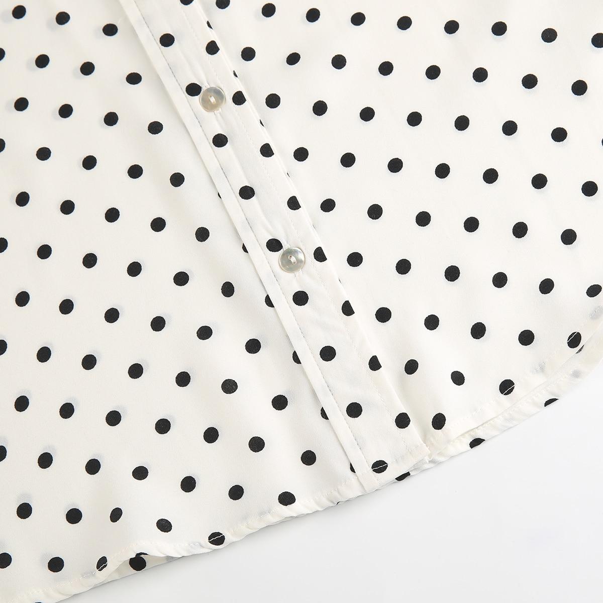 MCO New Basic Polka Dot Print Plus Size Women Blouse Casual Oversized Top Big Women Clothing Simple Spot Loose Shirt 5xl 6xl 7xl 5