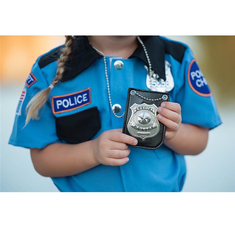 New America <font><b>Police</b></font> Role Play Toy Dress Up Pretend Play America <font><b>Police</b></font> Special Badge With Chain And Belt Clip image