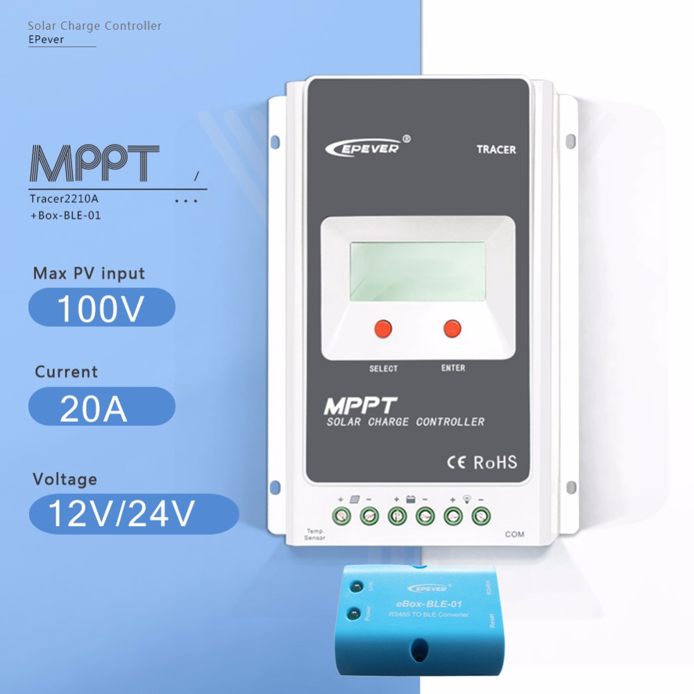 MPPT 20A Tracer 2210A with EBOX-BLE Solar Charge Controller 12V/24V Auto LCD Display Light and Time Controller PV Regulator 60a 12v 24v 48v mppt solar charge controller with lcd display and rs232 interface to communicate with computer