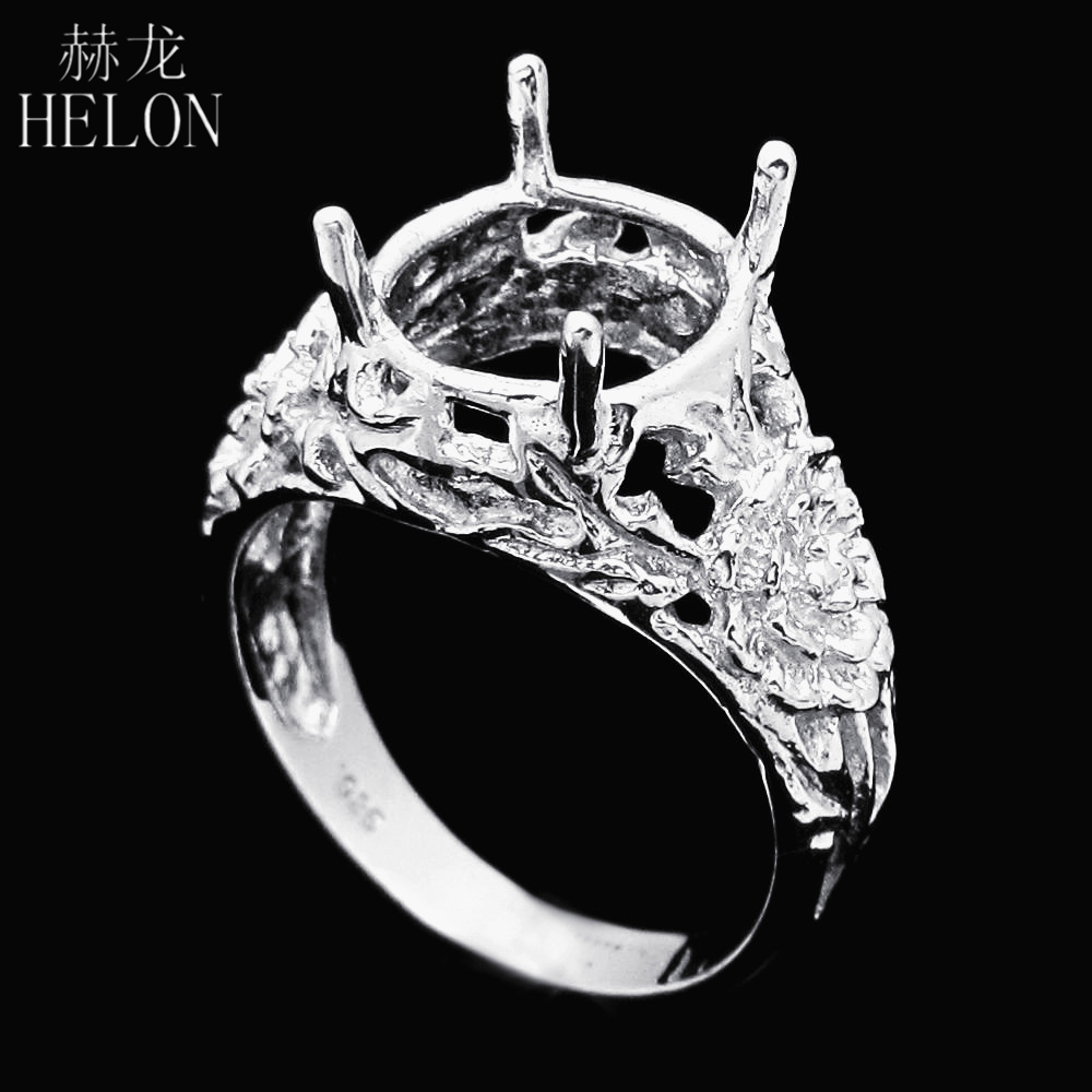 HELON Sterling Silver 925 Oval Cut 10x11mm Engraved Flower Elegant Unique Party Jewelry Solitaire Semi Mount Ring SettingHELON Sterling Silver 925 Oval Cut 10x11mm Engraved Flower Elegant Unique Party Jewelry Solitaire Semi Mount Ring Setting