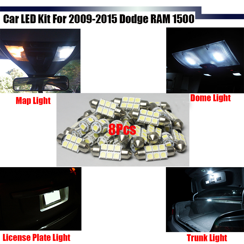 Cawanerl Auto LED Package KIT Car Interior Map Dome License Plate Trunk Lights White For 2009-2015 RAM 1500 super bright car styling 9pcs car led kit interior glove box light for 2014 2015 kia sorento trunk dome map license plate lights