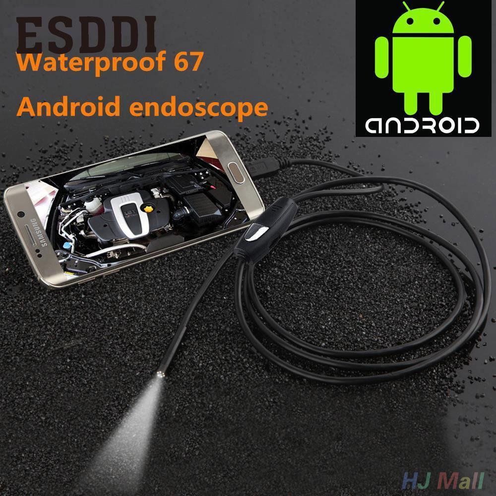 Esddi nueva caliente 7mm lente 1/1. 5/3. 5/5 M Android Teléfono endoscopio IP67 Borescope LED cámara de vídeo de la serpiente inspección de tubos serpiente Pipe Cam