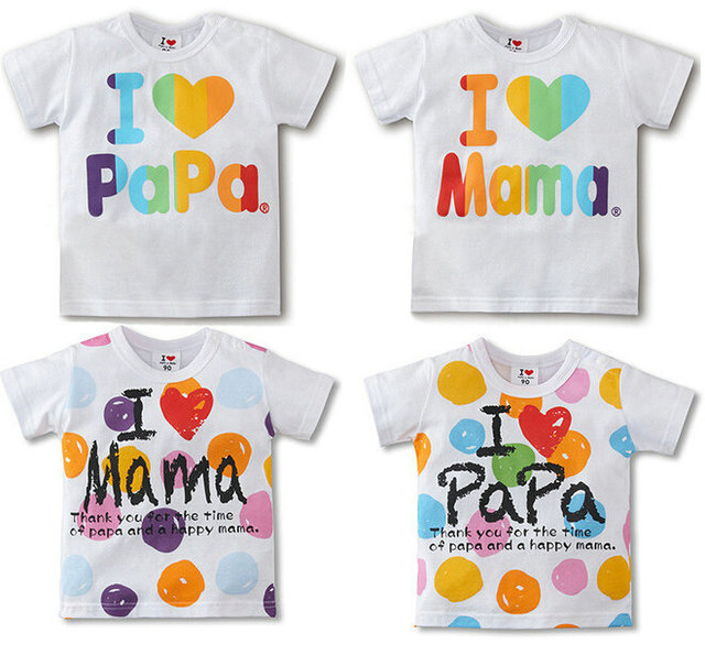 9cad2091b 5pcs New Design Baby boy girl shirt I Love Papa  Mama letter print ...