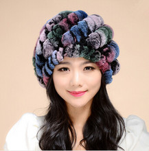 Chapeu женственный gorras зима шляпы для женщины снэпбэк женщины из натуральной мех кролика рекс вязаные шапки кроличий мех шляпа кепка