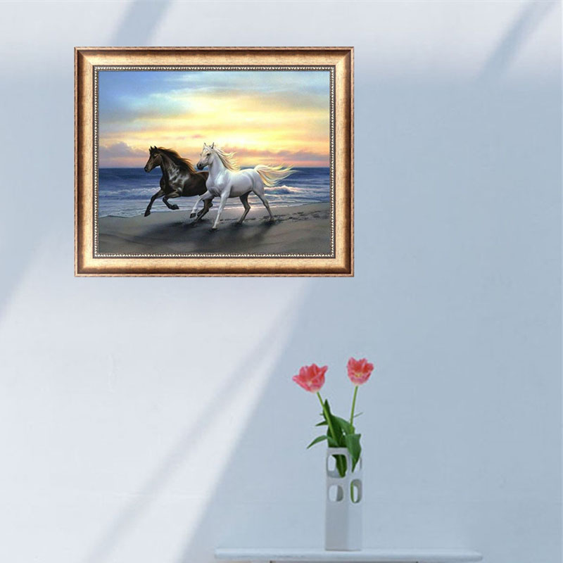 Horses 5D Diamond Embroidery Painting Cross Stitch DIY Craft Mosaic Home Decor