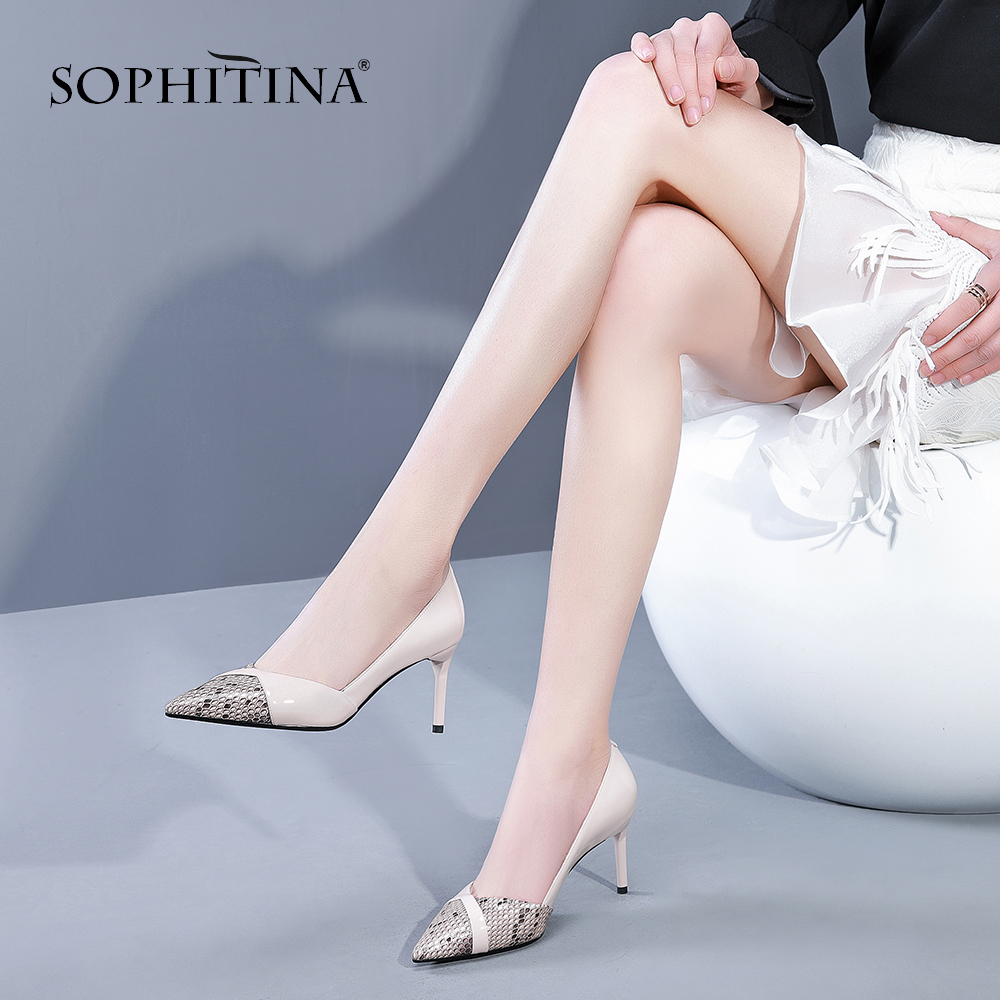 SOPHITINA Fashion Snake Patent Leather Pumps Sexy Pointed Toe Quality Handmade Slip on Party Pumps Thin