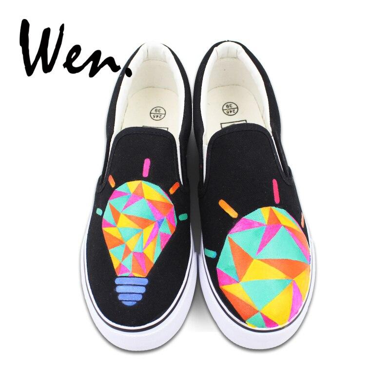 Wen chaussures peintes à la main femmes chaussures vulcanisées Design Original lampe colorée ampoule Graffiti peinture sans lacet plate-forme basse plat
