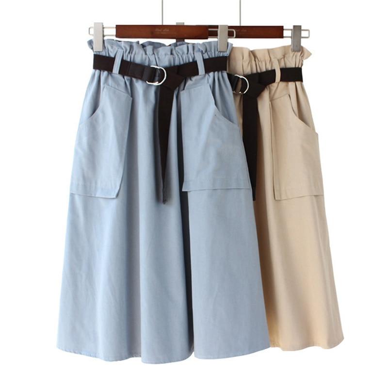 2020 Summer Cotton Bud Skirt Office Lady Belt High Waist Pockets Skirts Woman Korean Fashion Streetwear