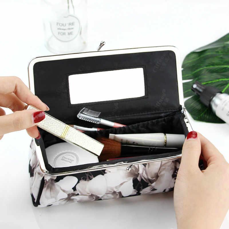 Mulheres Moda Festa Bolsa de Maquiagem Com Espelho Pequeno de Cosméticos Organizador de Viagem Make Up Pen Pincel de Batom caixa de Ferramentas Caixa De Armazenamento Bolsa
