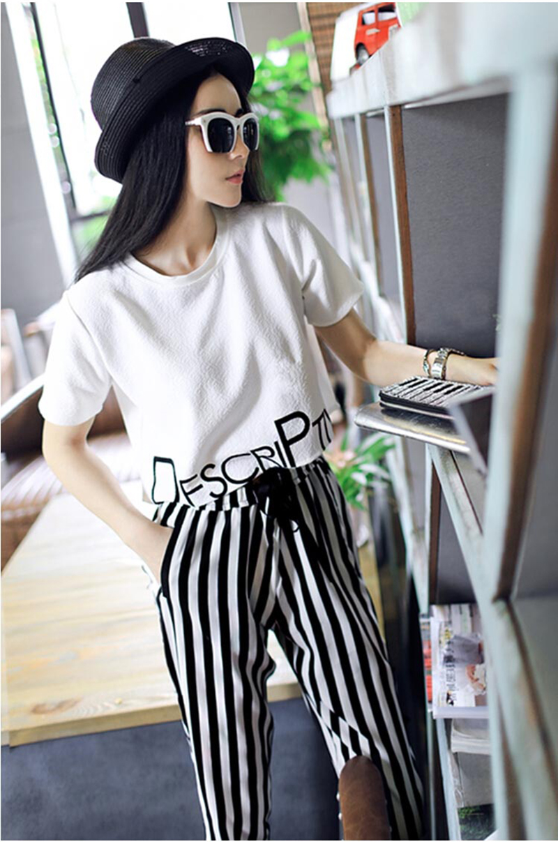 HTB1K6CEiiQnBKNjSZFmq6AApVXa0 - 2pieces summer set women tracksuit outfit casual lovely printing cotton letter short t-shirt tops+striped harem pants sweatshirt