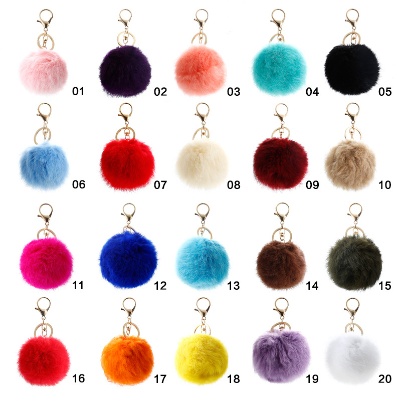 8 Cm Rabbit Hair Ball Keychain Korean Version Plush Key Clasp Bag Hanging Car Key Ring Hanging Fur Accessories  YSK3783