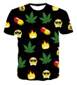Latest And Most Complete Emoji T Shirt Whataspp WeChat Kawaii Angry Printed T-shirt Weed Hemp Leaf Pills Tee Shirt Crewneck Tops
