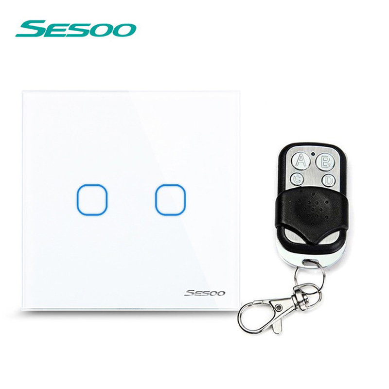 EU/UK Standard SESOO Remote Control Switches 2 Gang 1 Way,Crystal Glass Switch Panel,Remote Wall Touch Switch+LED Indicator eu uk standard sesoo remote control switch 3 gang 1 way wireless remote control wall touch switch crystal glass switch panel