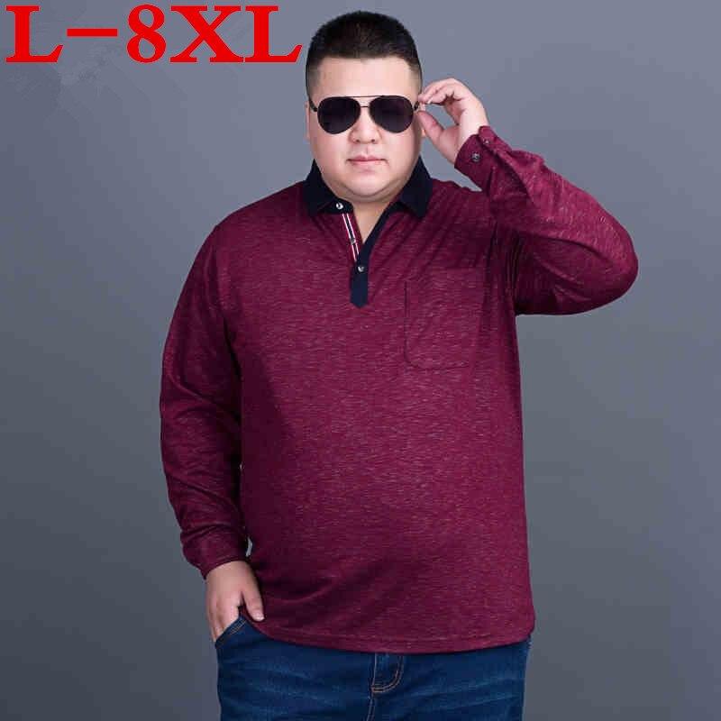 2018 nouveau grande taille 8XL 7XL 6XL 5XL 4XL nouveau classique hommes t-shirts à manches longues printemps hommes chemise marques t-shirts
