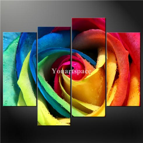4 Piece Wall Art Painting Pictures Print Canvas Fresh Look Color Colourful Rose Cascade Picture Home Decoration Oil - Youartspace store