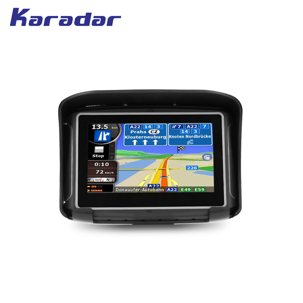 KARADAR nouvelle moto étanche GPS navigateur 4.3 pouces avec support de guidon de 360 degrés écran tactile résistif 8G flash