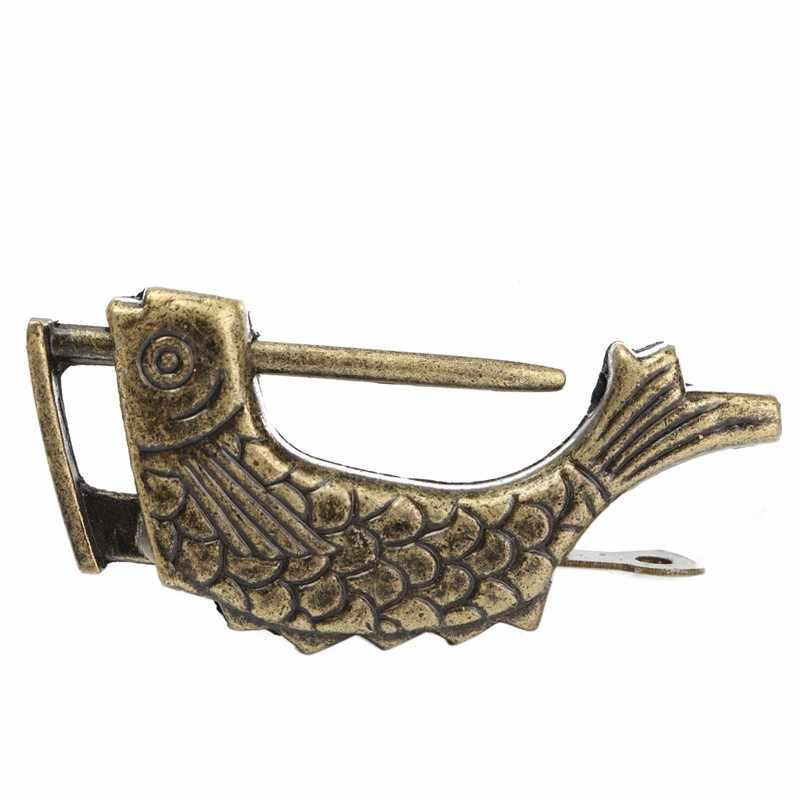 KiWarm 1 pièces rétro laiton cadenas Vintage chinois Antique Style ancien boîte à bijoux poisson motif serrure et clé pour la décoration intérieure ornements