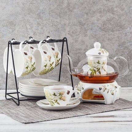 Thé anglais nordique après-midi théière thé en céramique verre fleur thé ensemble chauffage bulle fruits théière maison bureau simplicité