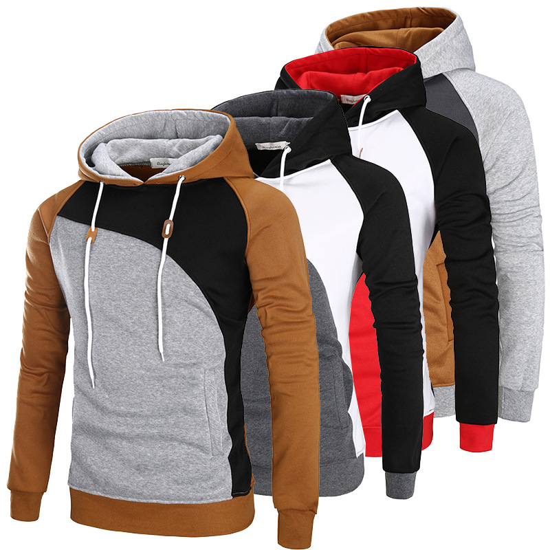 Mens New Fashion Hooded Sweatshirts Multicolor Cut Sew Patchwork Colorblock Pullovers Hoodie Tops Raglan Sleeve Tracksuit 2019