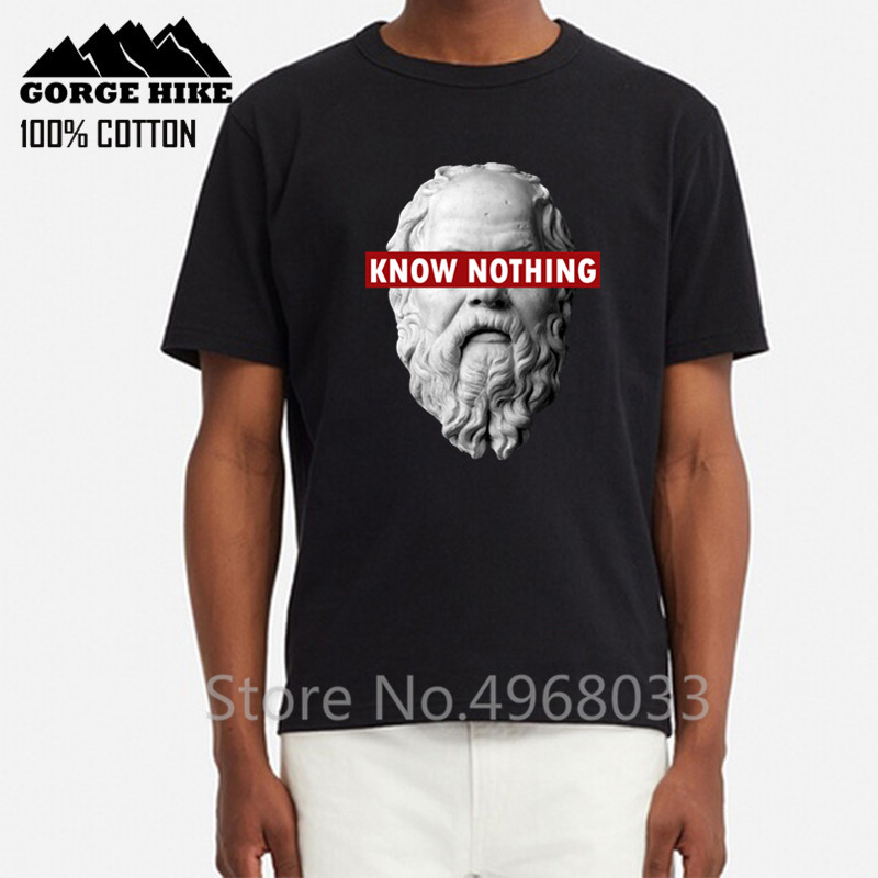 Funny Homme Luxury Brand 100% Cotton O-neck Custom 3D Printed Tshirt Men Tshirt KNOW NOTHING SOCRATES - Philosophy male T-Shirt image