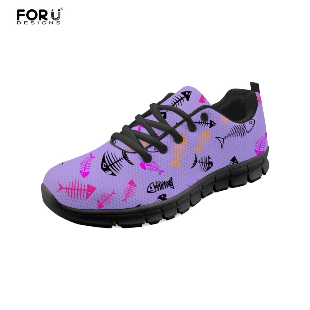 FORUDESIGNS Novelty 3D Fish Bones Brand Designer Women Shoes Flats Ladies Shoes Woman Casual Sneakers Lace-up Comfortable Female real pic high color decorative rivets women casual shoes brand designer lace up comfortable women flats shoes woman