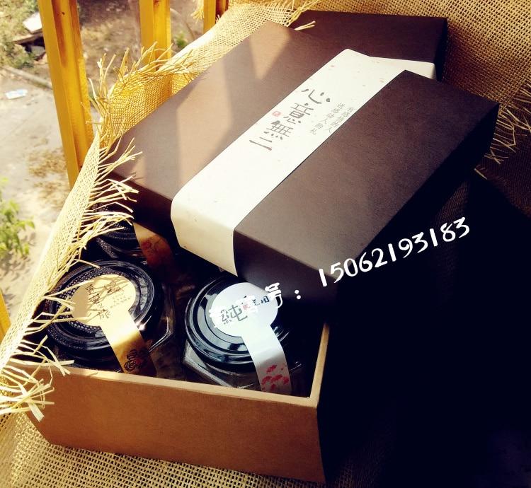18 18 9 5CM 4 Glass Bottles Capacity Honey Jam Cream Wedding Party Gift Box Farm