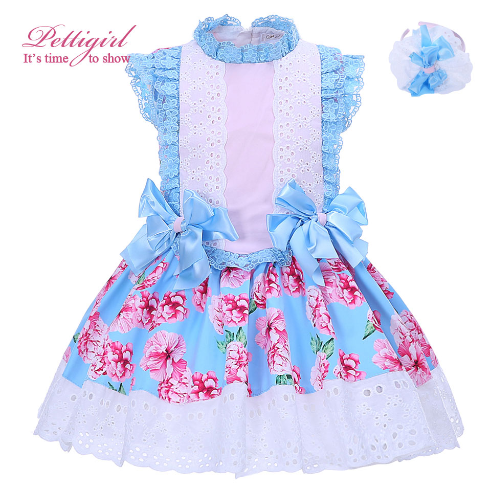 Pettigirl Boutique Summer Girls Flower Dress Blue Bow Cotton Lace Neck and Headband Kids Clothing G