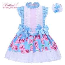 Pettigirl Boutique D'été Filles Fleur Robe Bleu Arc Coton Dentelle Cou et Bandeau Enfants Vêtements G-DMGD001