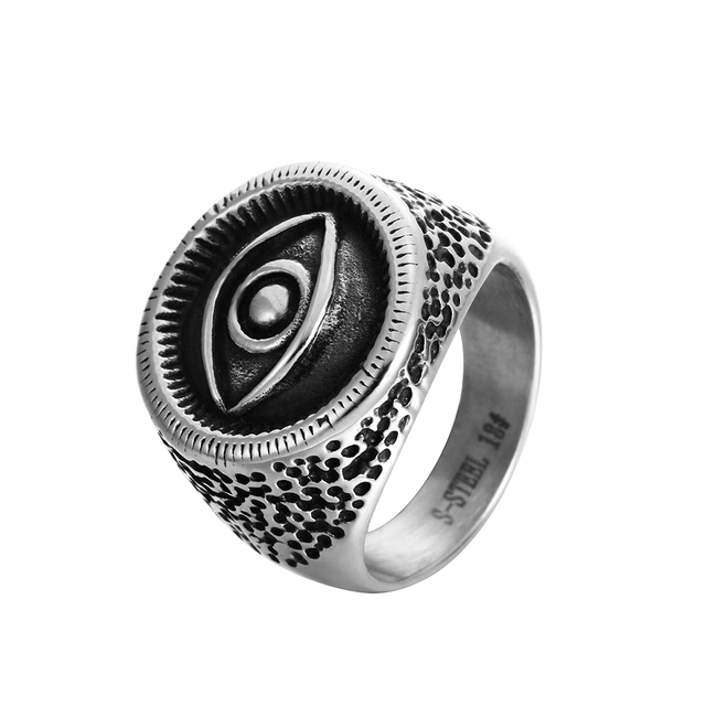 ruby eye stainless p at band rings men steel for punk evil ring vintage