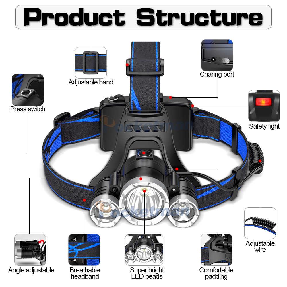 5000Lm phare puissant phare LED corps capteur de mouvement tête lampe de poche Camping lampe torche avec USB linterna frontale