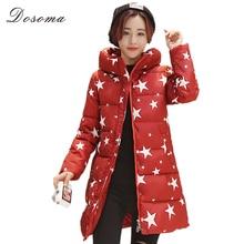 wadded cotton jacket women long down cotton pattern coat women 2016 star printed hooded jacket glasses down cotton coat women