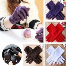 1 Pair Hot-selling Girl Lady Evening Party Wedding Formal Prom Stretch Satin Finger Wrist Gloves For Woman