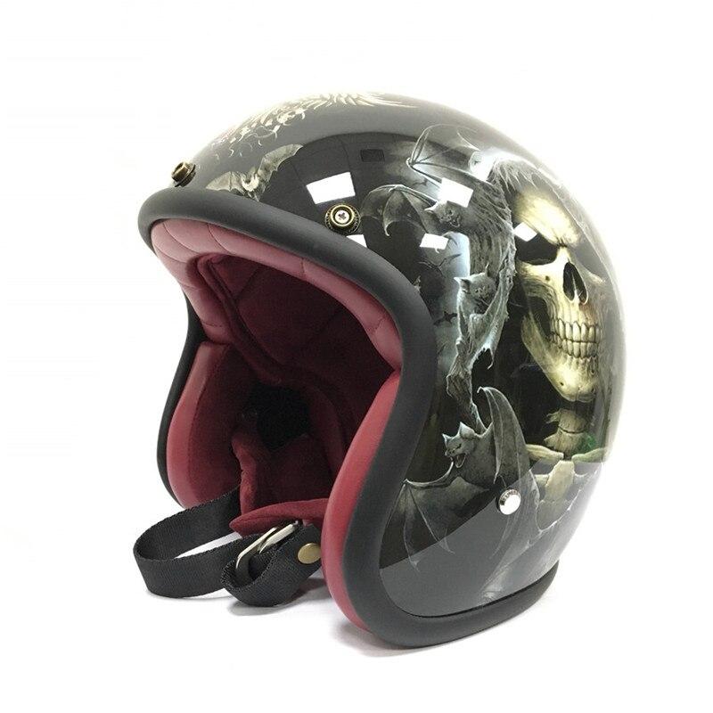 MJ moto Vintage moto rcycle Casco 3/4 Aperto Viso Casco moto Casco Casco moto Capacete cicleta per Harley Cranio moto casco cross