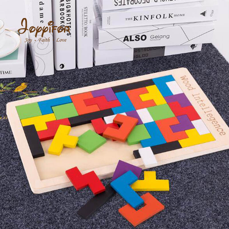 FGHGH Baby Wooden Tetris Puzzles Tangram Toys Colorful Deformation Jigsaw Board Kids Educational Toy For Children Christmas Gift