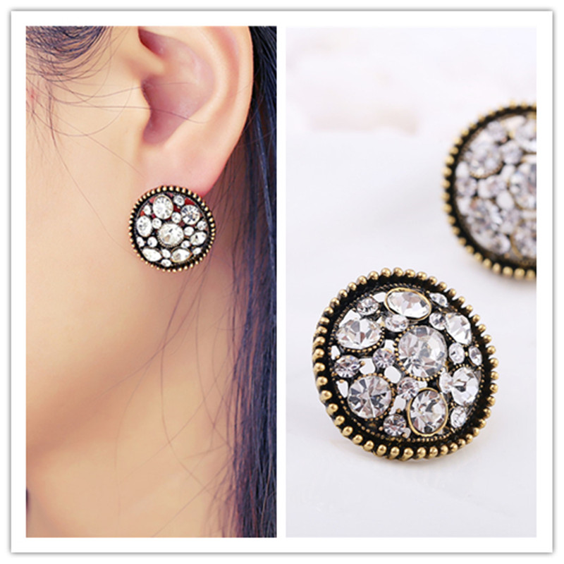 Earrings for woman Ancient Retro Women Boho Bijoux Unique Hollow Design Summer Round Rhinestone Statement  Earrings Wholesale