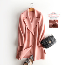 ФОТО Light color split double women wool coat female long winter coat double-breasted hand-stitched wool coat female