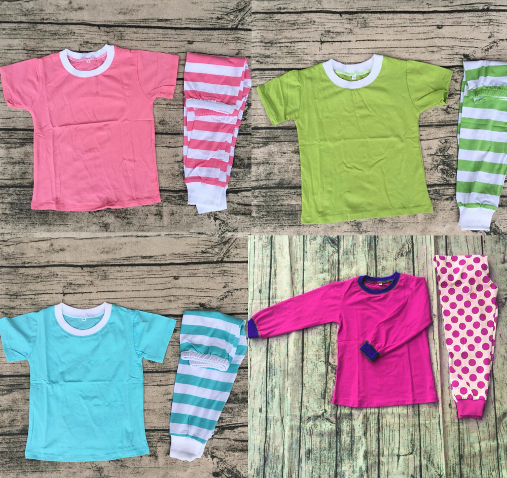 New design short sleeve stripe baby & lady matching family clothing set children girls p ...