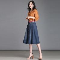 Summer Jeans Denim Skirt Woman Plus Size Single Buttons Casual Midi Skirts High Waist Stretch Slim Hip Jean Skirt Long 4XL