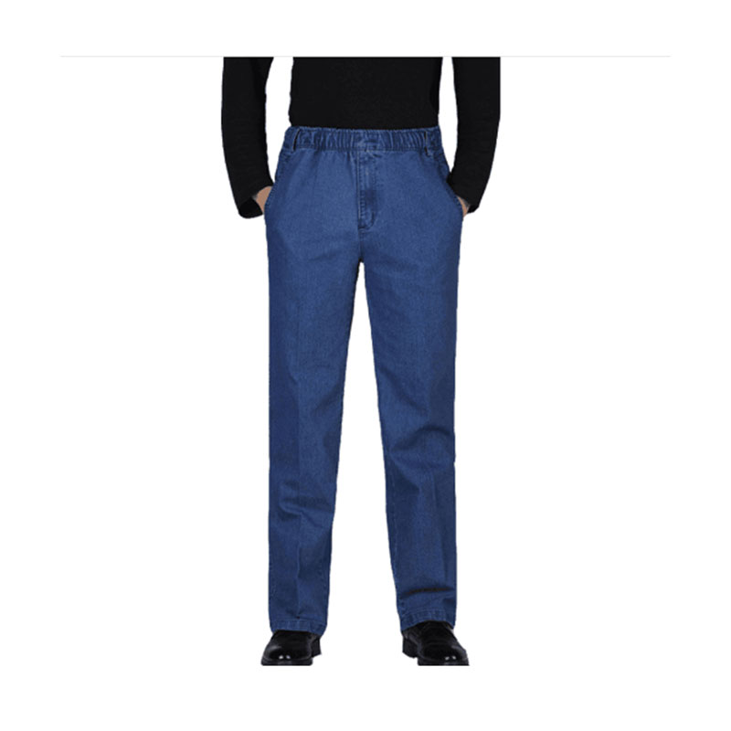 2019 spring men's new pants elastic waist large size loose casual cotton high waist ripped   jeans   for men