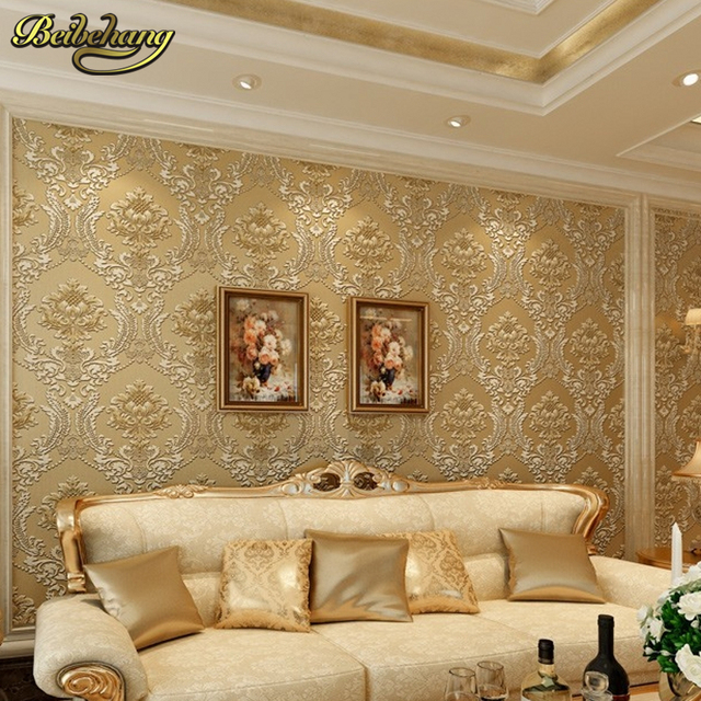 Beibehang Classic Wall Paper Home Decor Background Damask Golden Floral Wallcovering 3D Velvet Wallpaper For