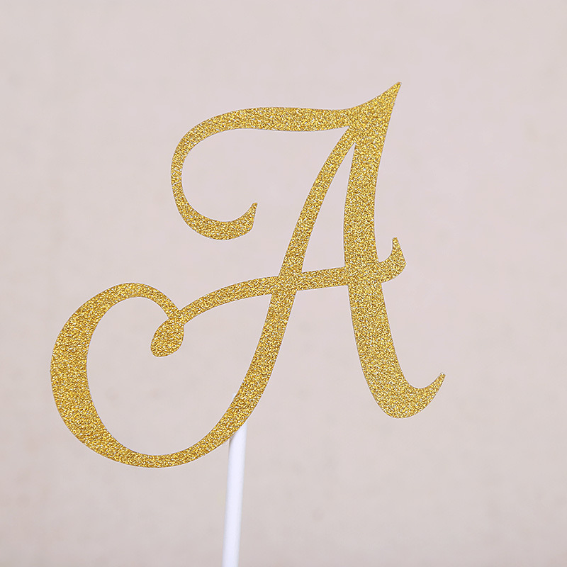 A B C Letter Cake Topper Cupcakes flags Bridal Shower Glitter Shiny ...