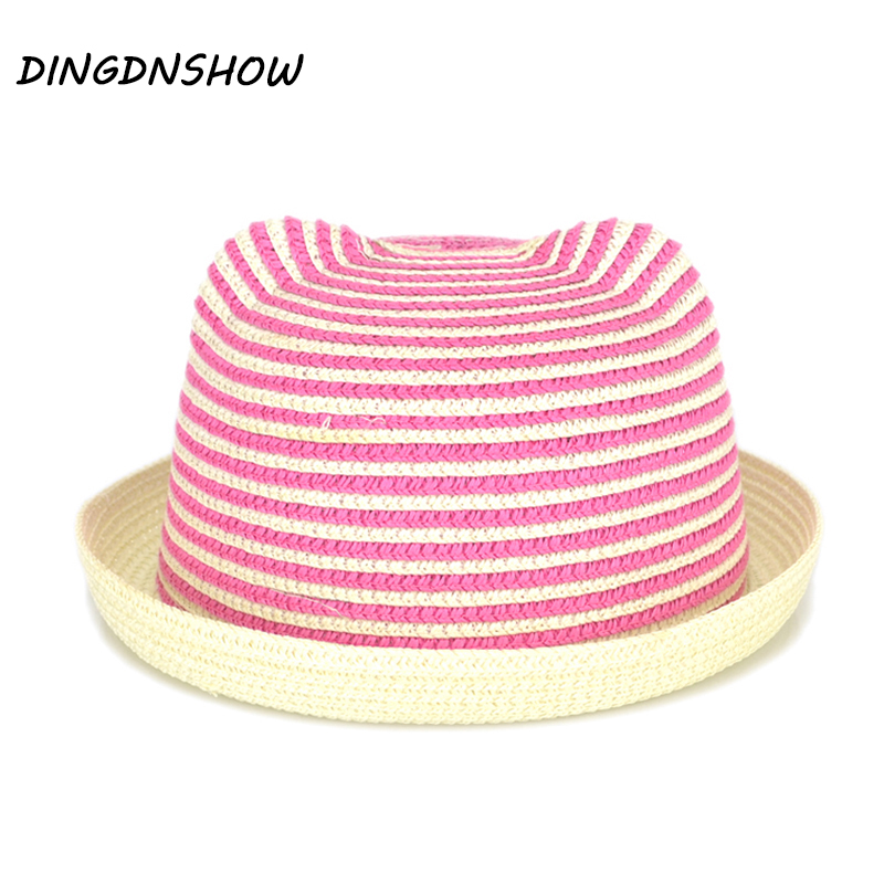 [HEAD BEE] 2017 New Fashion Stripe Beach Floppy Sun Hat Straw Cap Ears Cartoon Summer Hats For Kids Girls Boys Panama Children