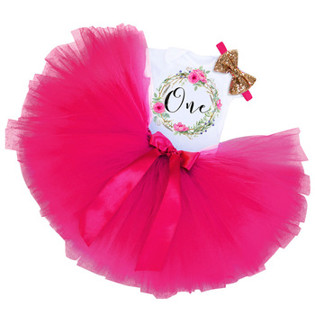 Xmas Baby Girls Birthday Outfits Dresses for 1st First Birthday Party Romper +Headband 1 Year Christening Tutu Dress 3Pcs Suit 1