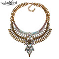 Ladyfirst 2016 New Hot Statement Necklaces AB Color  Pendant Collier Femme Gem Choker Big Vintage Maxi Chunky Necklace 3599