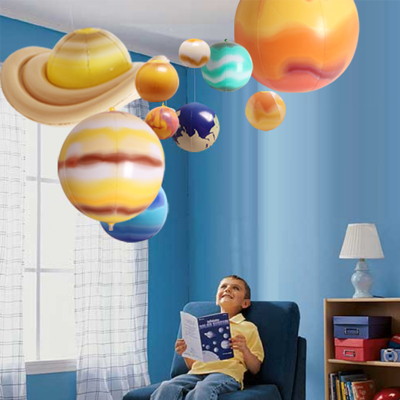 10 Pieces/Set Solar Galaxy Teaching Model Balloons Charm Simulation Nine Planets In Solar System Kids Inflatable Toy Party Props