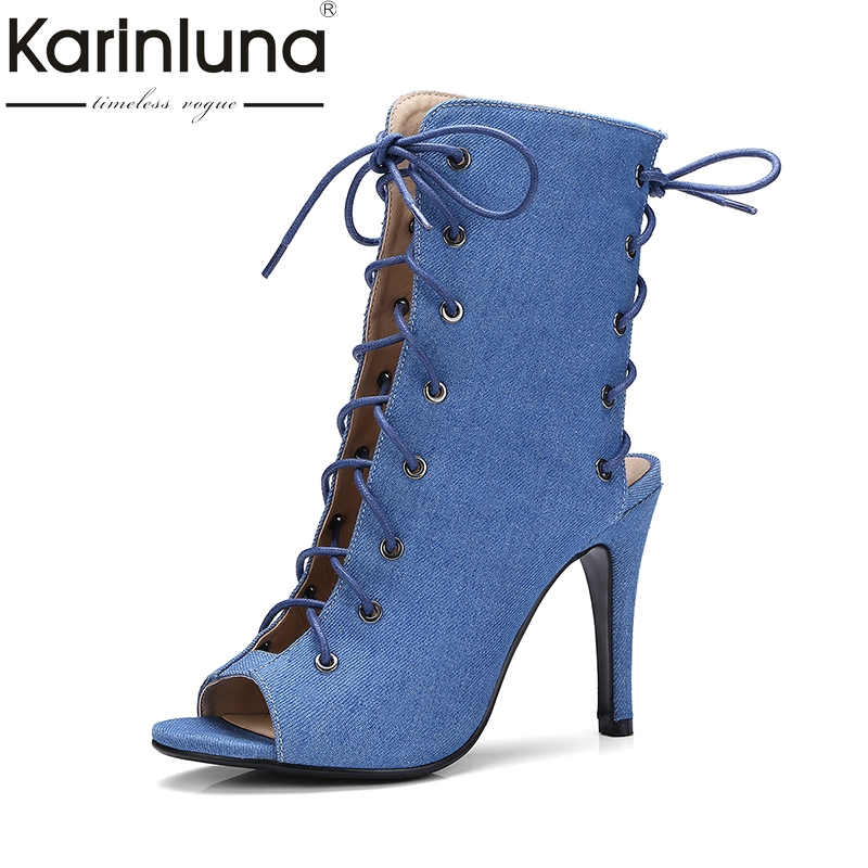 karinluna plus size 34-43 brand shoes woman sexy peep toe thin high heels gladiator sandals women shoes lace up ultra thin heels 20cm platform open toe print women s shoes plus size sexy 43 tiangao 42 34