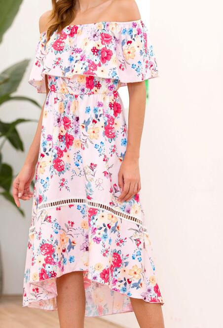 Sexy Women Off Shoulder Summer Dress Ruffles Floral Print Short Sleeve Ruched Party Mini Dresses Summer Dress 2019 Beach Dresses in Dresses from Women 39 s Clothing