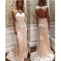 4d7ec2f8e6d17 2019 Mermaid Elegant Evening Dresses Backless Party Dress Champagne Dress  With Ivory Appliques Evening Gown Long